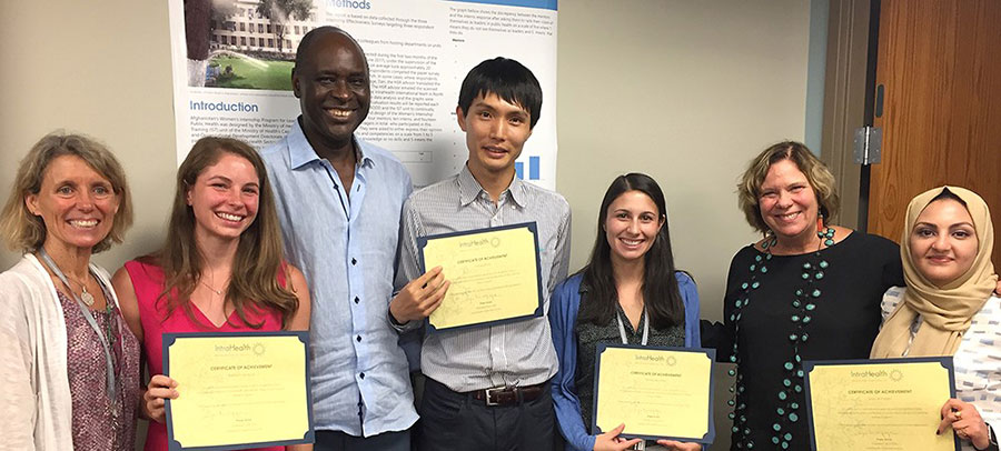 Celebrating the completion of the 2017 UNC-IntraHealth Summer Fellows Program are (l-r) Rebecca Kohler, senior vice president of corporate strategy and development at IntraHealth, Kati Jackson, Pape Gaye, president and chief executive officer at IntraHealth, Dr. Yutaka Endo, Alex Dest, Dr. Peggy Bentley, associate dean for global health at the Gillings School, and Dr. Saja Al-Falahi. Photo by Carol Bales for IntraHealth International.