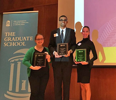 Nicole Kahn (left) poses in the winner's circle at the Three-Minute Thesis competition. With her are pharmacy students Aaron Devanathan (People's Choice awardee) and Katelyn Arnold (first place). Photo courtesy of the UNC Graduate School.