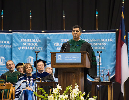 Dr. Satish Gopal, alumnus and adjunct faculty member at the Gillings School and cancer program director for UNC Project-Malawi, delivered the winter 2017 commencement address on Dec. 17. Photo by Jon Gardiner.