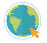 A globe with an orange cursor arrow pointing to it.