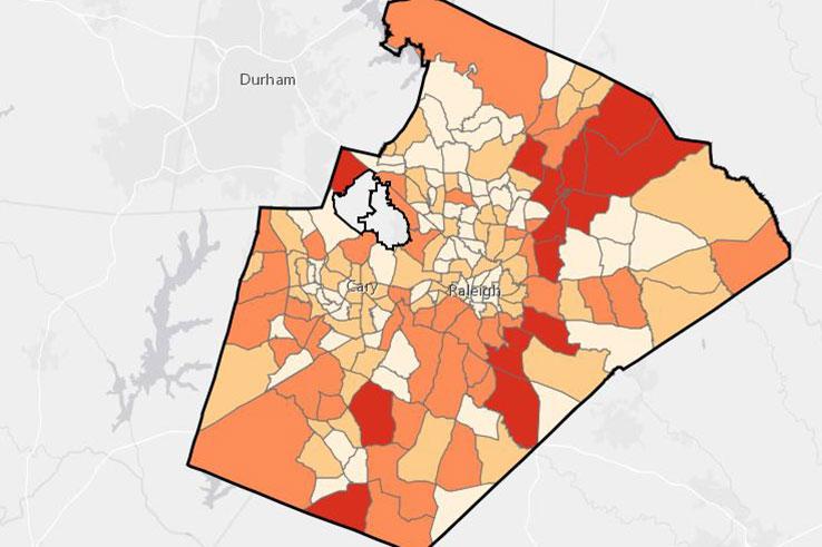 Demographic map of Wake County, NC