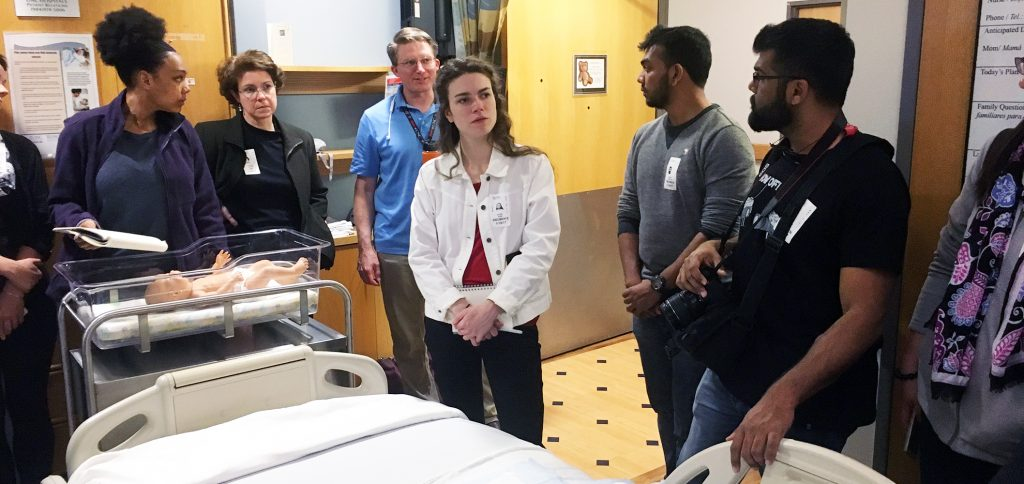 Collaborators on the sidecar project visit a hospital maternity room. (Contributed photo)