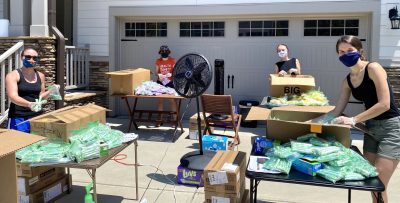 MCH students pack boxes
