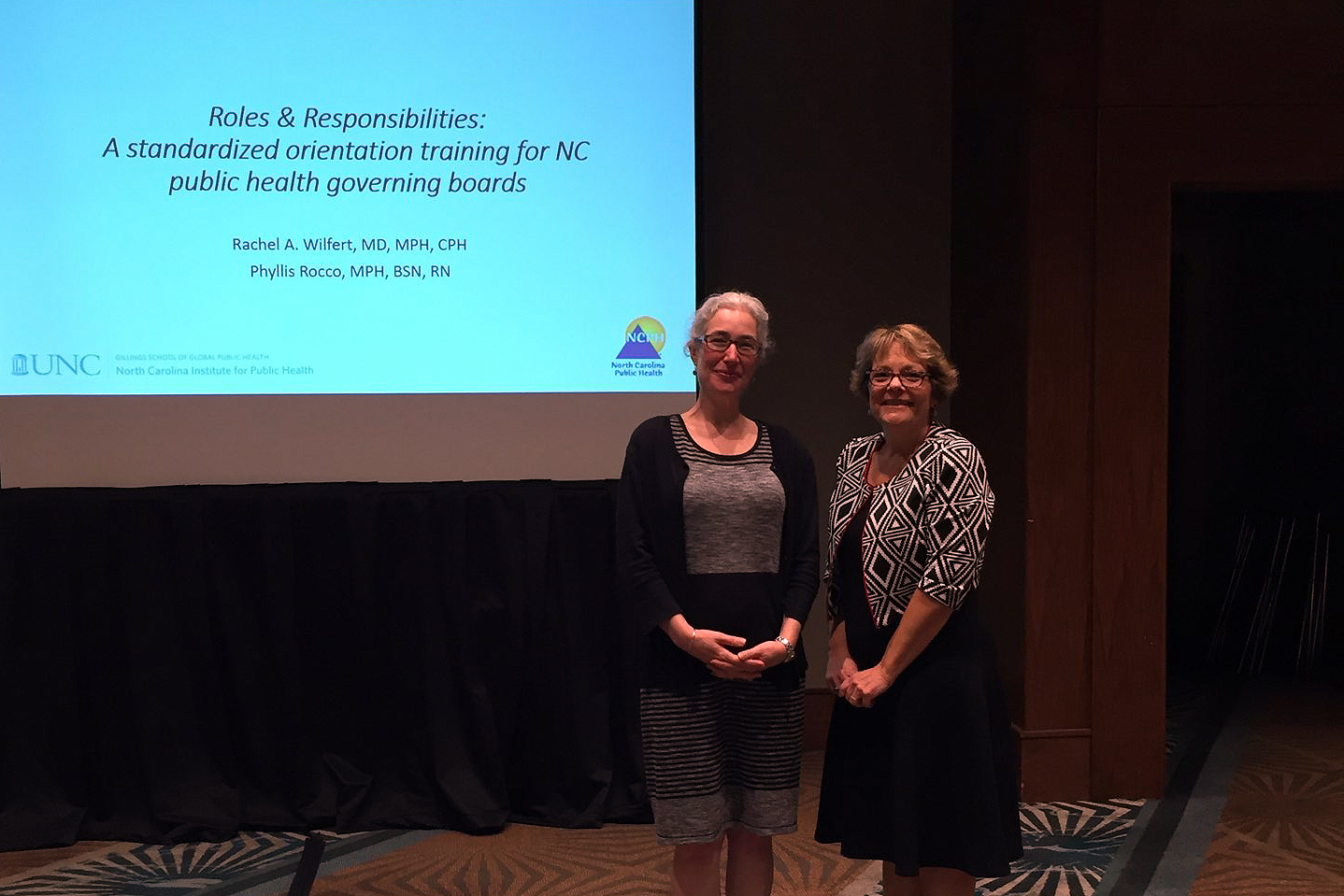 NCIPH Interim Director Rachel Wilfert, MD, MPH, CPH, co-presented with North Carolina Division of Public Health (NCDPH) Local Technical Assistance and Training Branch Head Phyllis Rocco, MPH, BSN, RN, on orientation trainings for North Carolina public health governing boards.