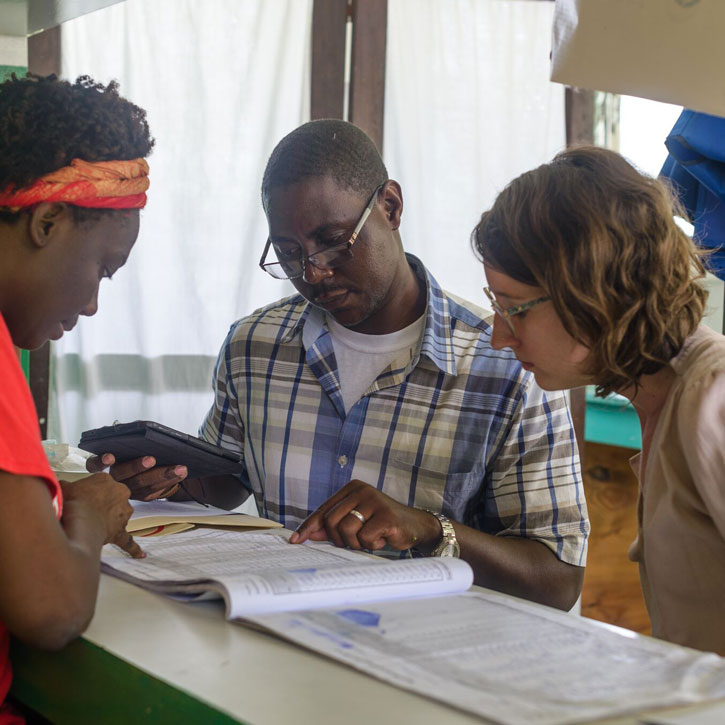 Hayley Welgus (far right) works with Save the Children colleagues in Haiti. Photo credit: Reginald Louissaint