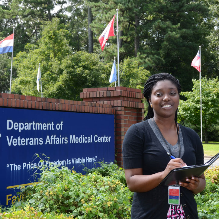 Ama Achampong spent her summer at the Veterans Affairs Medical Center in Fayetteville, N.C.