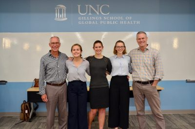 Team Phtya poses with their UNC Gillings advisers. (Left-to-right are Don Holzworth, Emily Kian, Eliza Harrison, Lucy Best and Dr. Kurt Ribisl.)