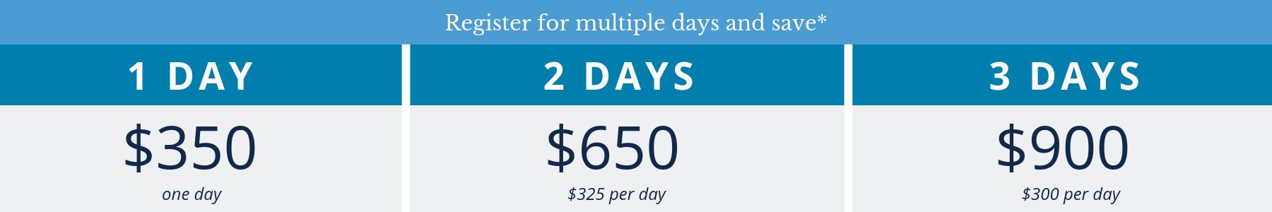 1 Day - $350; 2 Days - $650; 3 Days - $900
