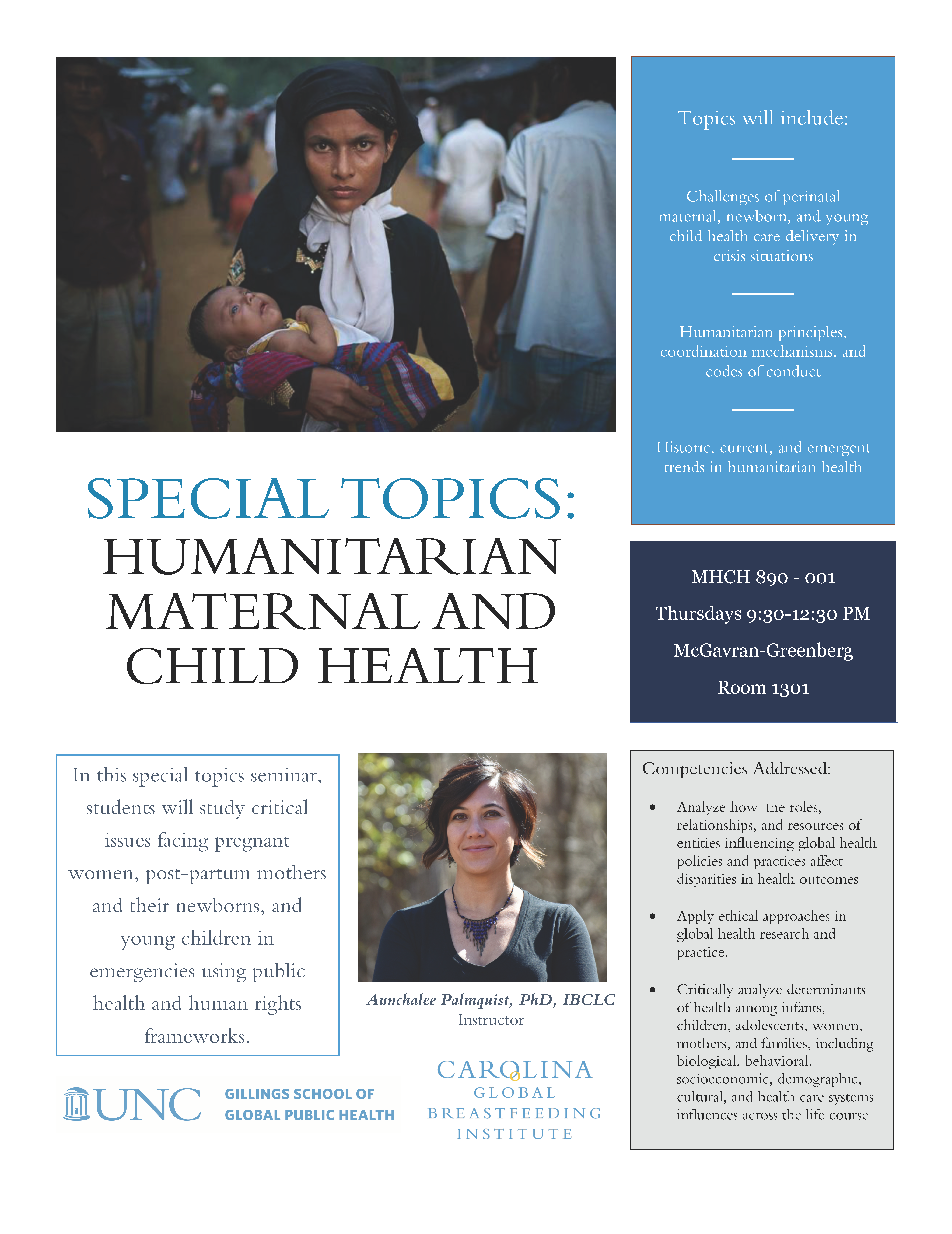 Special Topics: Humanitarian Maternal and Child Health Course Flyer