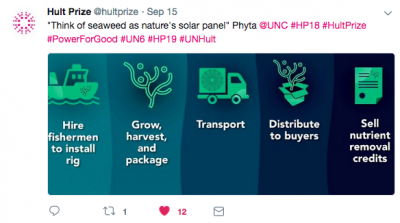 The Hult Prize organizers tweet about team Phyta.