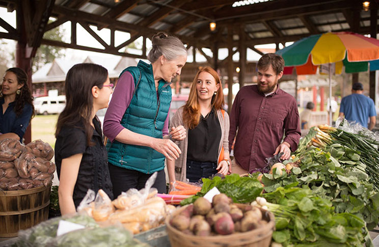Dr. Ammerman visits a farmer's market with students.