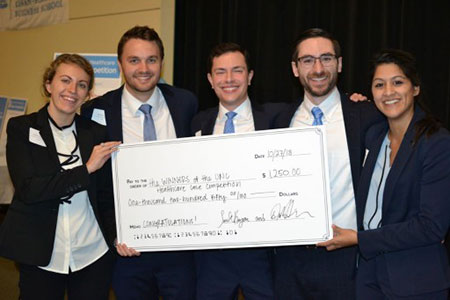 Left to right are Jackie Gerhart, Matthew Ditto, Sean Grim, Joseph Reilly and Aditi Borde, first-place winners of Kenan-Flagler's health care case competition.