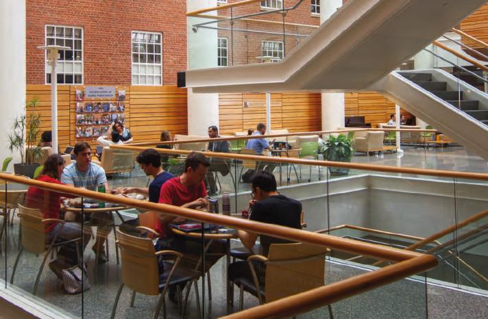 Students study in Armfield Atrium.