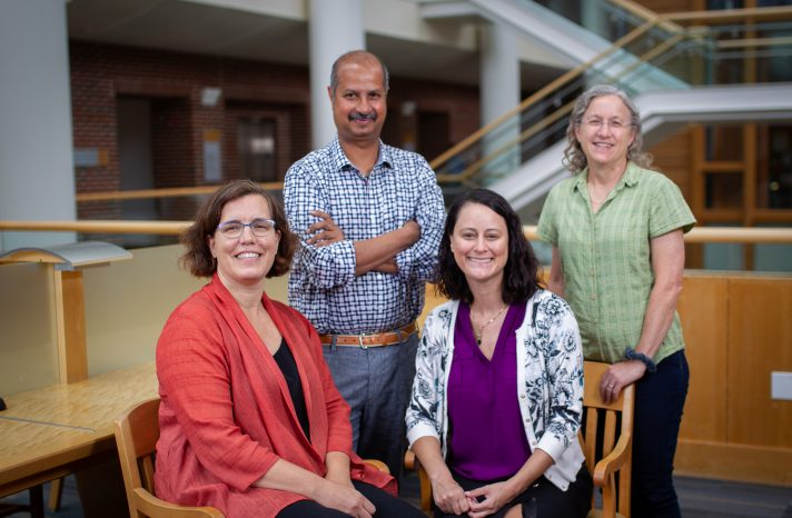 Left to right are Drs. Suzanne Maman, Rohit Ramaswamy, Jill Stewart and Ilene Speizer, co-leads for the global health concentration. Their disciplines – health behavior, leadership, environmental sciences and engineering, and maternal and child health, respectively – reflect the broad base of the concentration.
