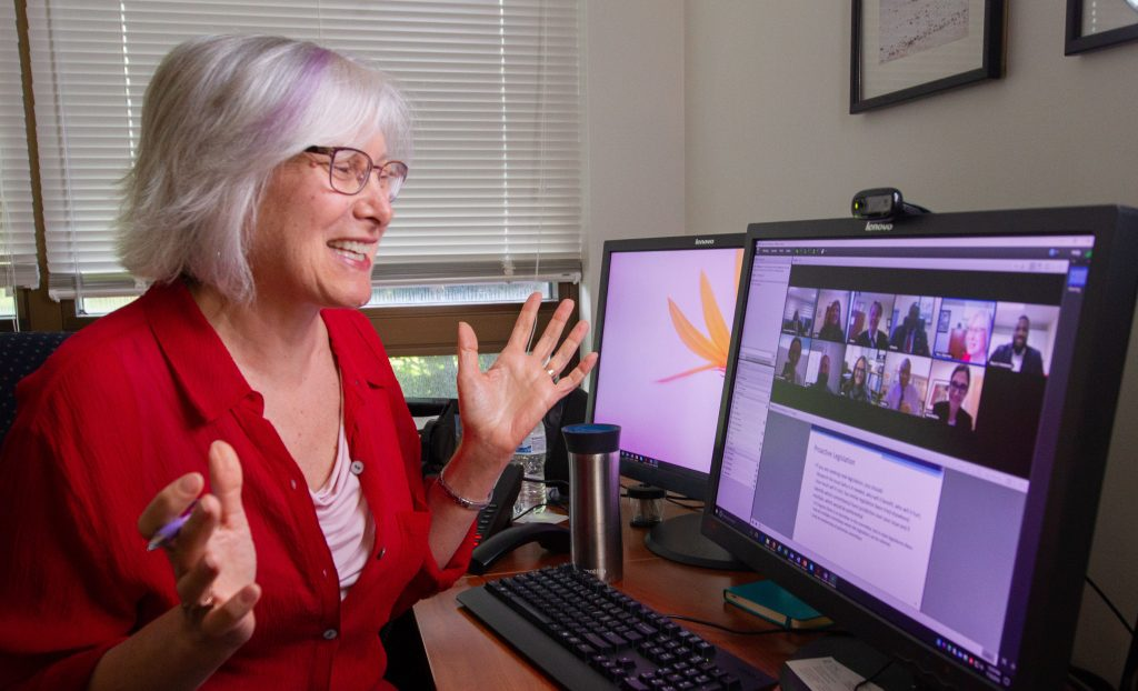 Dr. Pam Silberman chats online with her DrPH students.