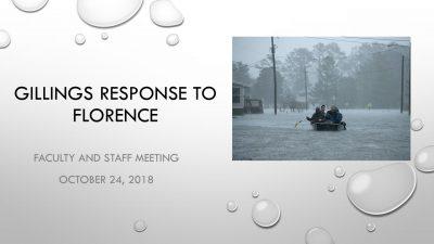 Gillings Responds to Florence presentation title slide