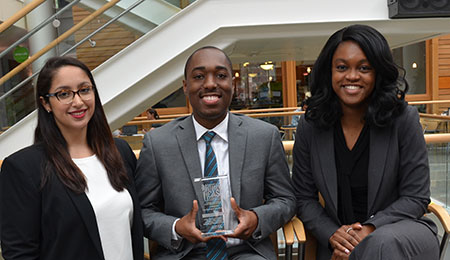 Gina Thompson, Ruben Joseph and Whitney Okie (l-r) brought home a third-place win in the NAHSE case competition.