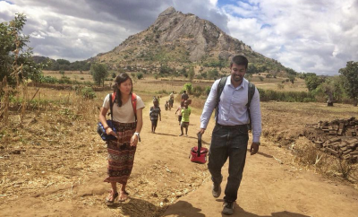Aninda Sen, MBBS, works on a project to assess the functionality of solar-powered water pumps in rural Malawi.