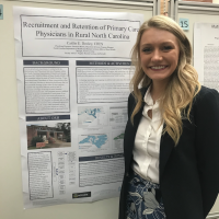 Caitlin Dooley presents her poster at the 2018 Practicum Day at the Gillings School.