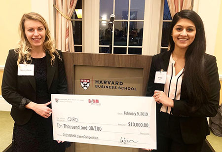 Aditi Borde (right) and Jacqueline Gerhart won the 2019 case competition hosted by the Harvard Business School.