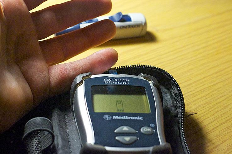 Blood test meter. Photo by Alan Levine.
