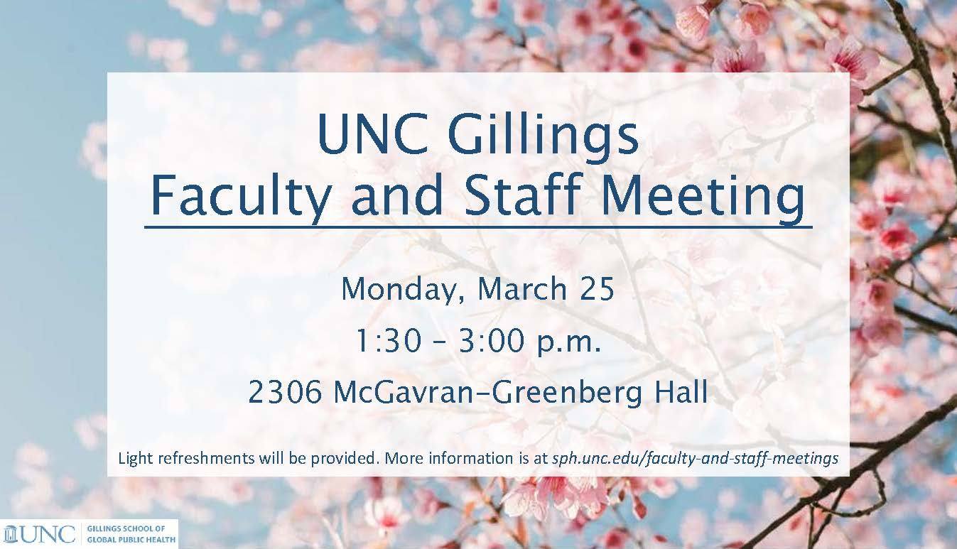 Gillings School faculty and staff meeting invitation