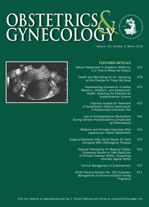 March 2018 issue of Obstetrics & Gynecology