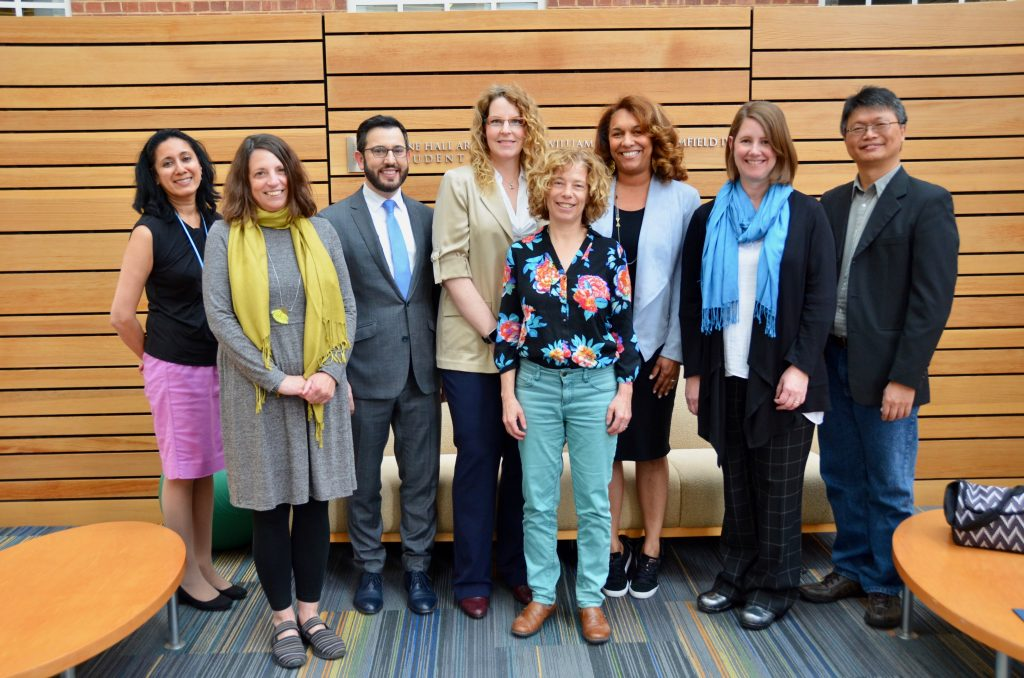 On March 25, awards for innovative teaching were presented (l-r) to Dr. Seema Agrawal, Dr. Alexandra Lightfoot, Dr. Benjamin Mason Meier; Dr. Alyssa Mansfield Damon, Dr. Karin B. Yeatts, Dr. Dana Rice, Catherine Sullivan and Dr. Feng-Chang Lin. Not pictured: Dr. Mark Serre