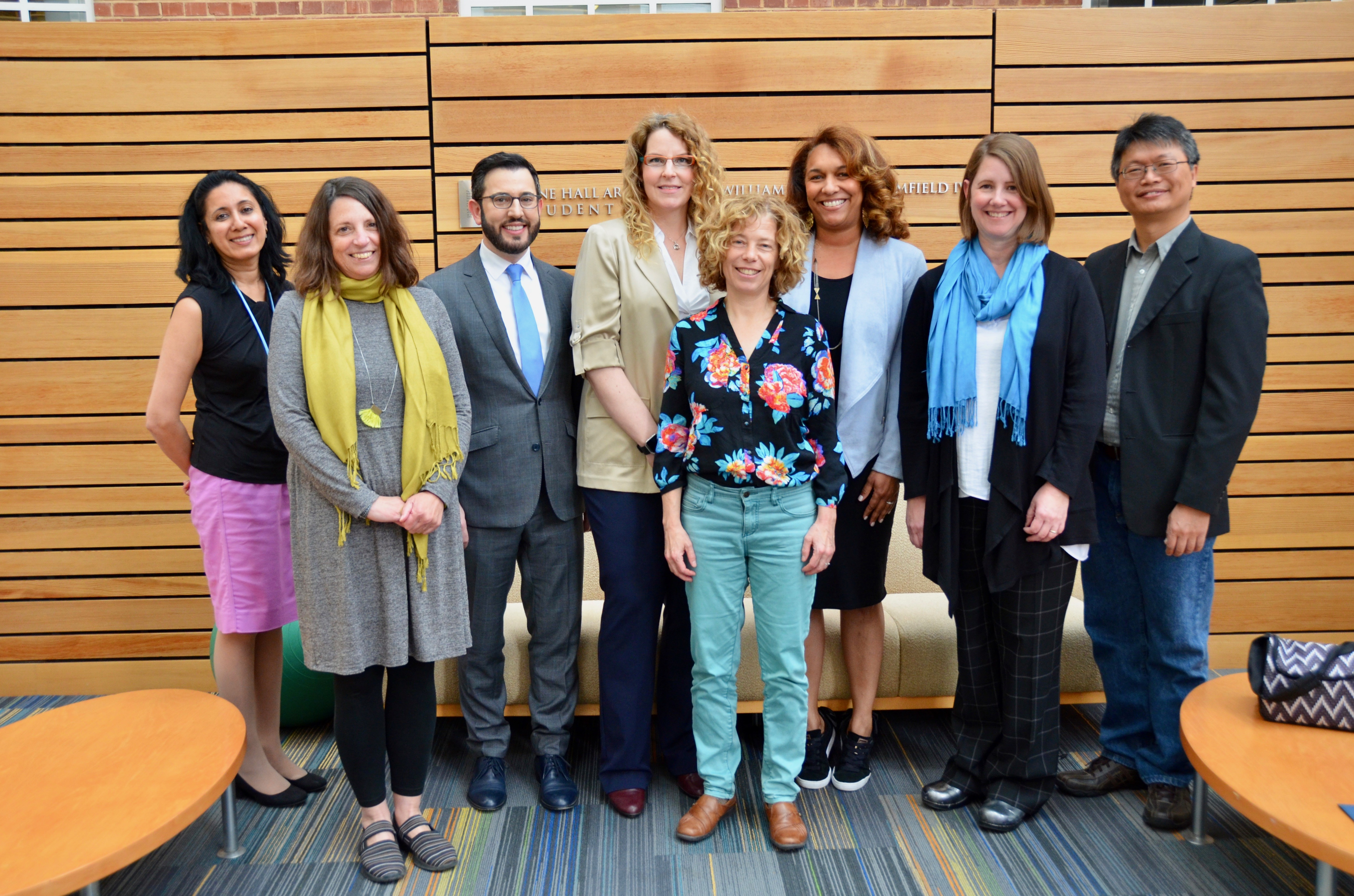 On March 25, awards for innovative teaching were presented (l-r) to Dr. Seema Agrawal, Dr. Alexandra Lightfoot, Dr. Benjamin Mason Meier; Dr. Alyssa Mansfield Damon, Dr. Karin B. Yeatts, Dr. Dana Rice, Catherine Sullivan and Dr. Feng-Chang Lin.