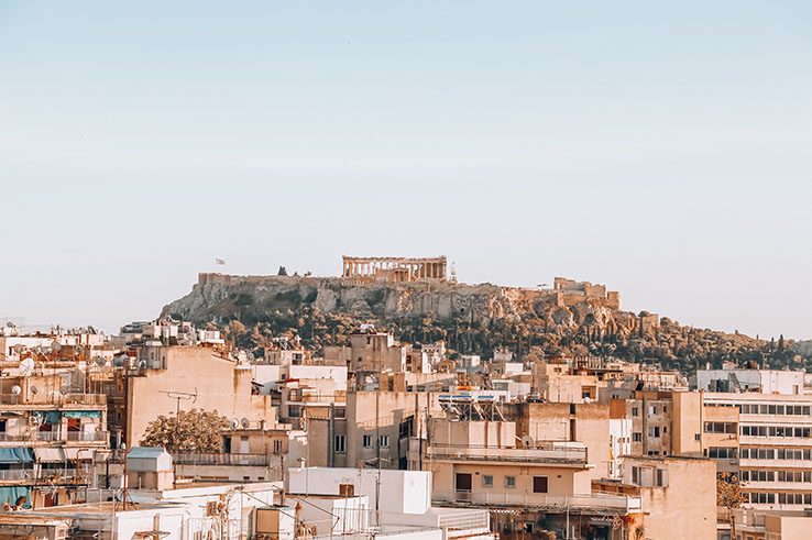 Summer sun shines down on the city of Athens, Greece.