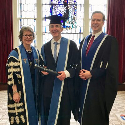 Dr. Bert Peterson (center) smiles with Professor Lesley Regan, president of RCOG (left), and Professor Tim Draycott. (Contributed photo)