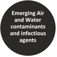 Text reads Emerging Air and Water Contaminants and Infectious Agents