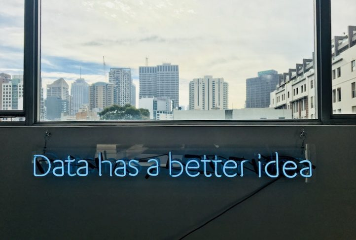 "A neon sign reads, ""Data has a better idea."""