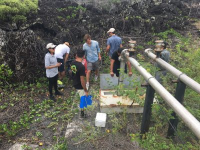 A group of UNC Gillings students and locals study water quality in the Galapagos Islands.