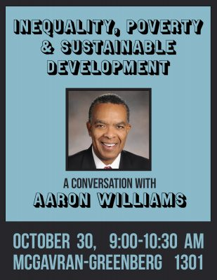 Poster for Aaron Williams Lecture: Inequality, Poverty and Sustainability