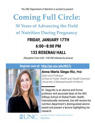 Flyer for Anna Maria Siega-Riz Lecture