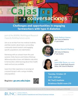 Flyer for Cajas y conversaciones lecture