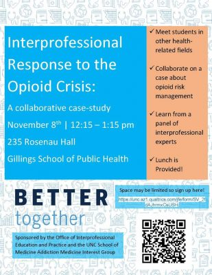 Flyer for Interprofessional Response to the Opioid Crisis lecture