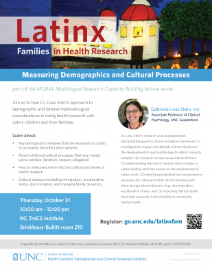 Flyer for Latinx families in health research lecture