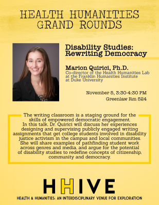 Flyer for November 2019 Health Humanities Grand Rounds