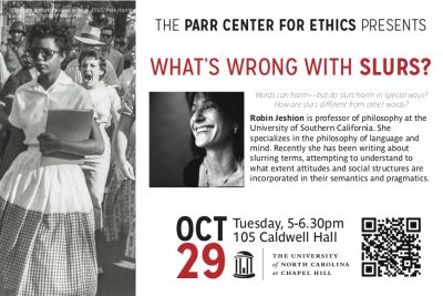 Flyer for Robin Jeshion lecture
