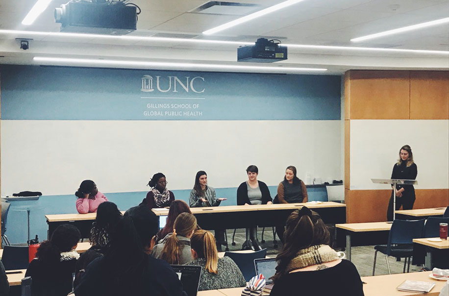 Members of the Student Global Health Committee speak on a panel at the Gillings School.