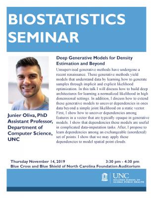 Flyer for Biostatistics Seminar featuring Junier Oliva
