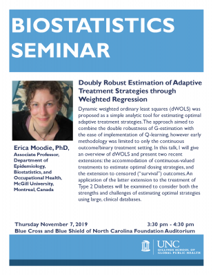 Flyer for Biostatistics Seminar with Dr. Moodie