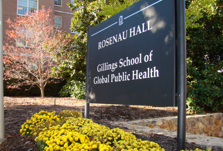 A sign for Rosenau Hall outside the campus