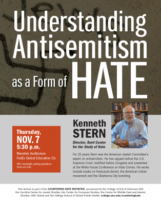 Flyer for Countering Hate Lecture with Kenneth Stern