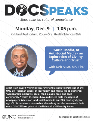 Flyer for DOCSpeaks with Deb Aikat