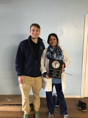 Travia and Dr. Fozia Khan represent Railcare Health at a clinic in New Bern, N.C.