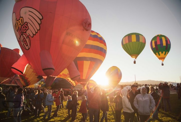 Hot air balloon enthusiasts attend a festival in New Mexico.