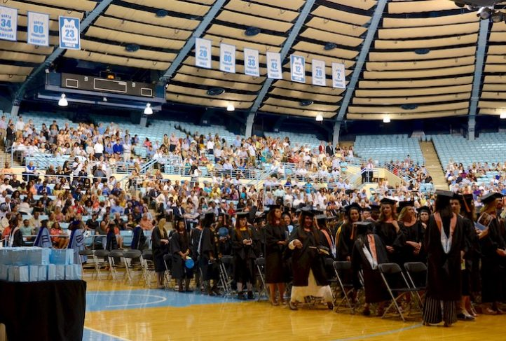 Graduates attend commencement.